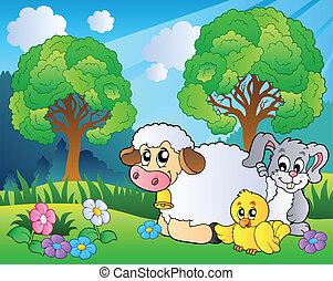weide, met, lente, dieren