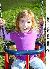 weide, park, het slingeren, schommel, meisje, gras, vrolijke