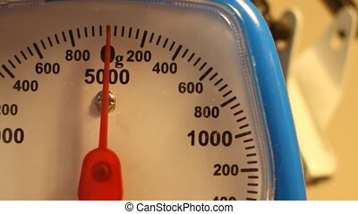 Weighing 100g - Close-up shots of a scale, measuring 100...