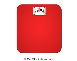 Weighing In - Bathroom scales isolated against a white ...