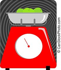 Weighing machine - Illustration of a kitchen weighing ...