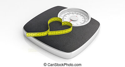 Weighing scale and a heart shape measure tape isolated on white background. 3d illustration
