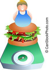 weighing scales - diet and nutrition concept image - icon...