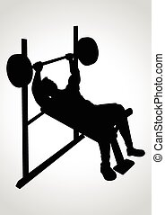 Weight Bench - Silhouette cartoon of a man exercising using...