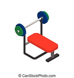 Weight bench with barbell icon, isometric 3d style