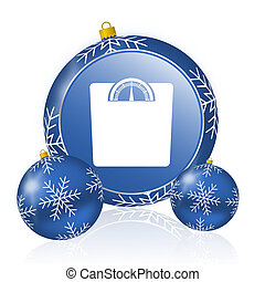 Weight blue christmas balls icon