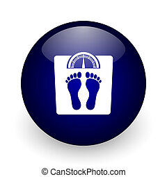 Weight blue glossy ball web icon on white background. Round 3d render button.