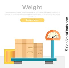 Weight Concept Web Banner in Flat Style Design.