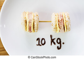 Weight control concept-mini sandwiches in dumbbell shape