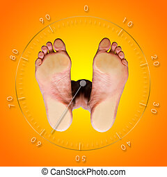 Weight Control - View from below of a weight control balance...