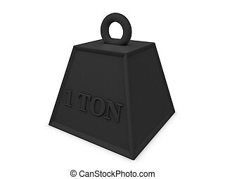 Weight - 3d image, 1 ton weight