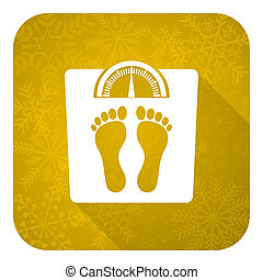 weight flat icon, gold christmas button