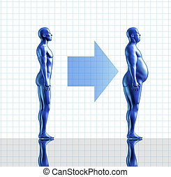 Weight gain and obesity symbol representing the concept of...