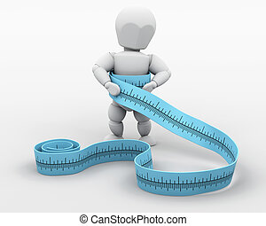 3D render of a man measuring his waist with a tape measure