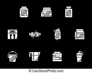 Weight growth supplements white glyph vector icons -...