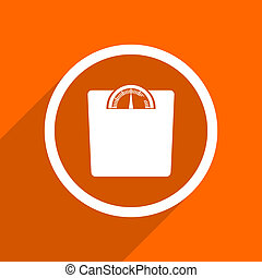 weight icon. Orange flat button. Web and mobile app design illustration