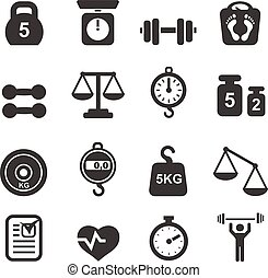 Weight icon set - scales, weighing and  balance vector
