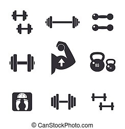 Weight icons set. - Set of weight kilogram barbell icons. ...