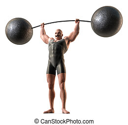 Weight lifter - A muscular man with a handlebar mustache and...