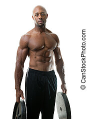 Weight Lifter Holding Plates - Toned and ripped lean muscle...