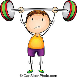 weight lifter - Illustration of a boy lifting weights