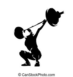 Weight lifter woman, abstract isolated vector silhouette. Strong people