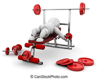 Weight lifting - 3D render of someone using gym equipment