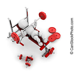 Weight lifting - 3D render of someone weight lifting