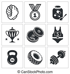 Weight lifting and arm wrestling icon set - Wrestling icon...