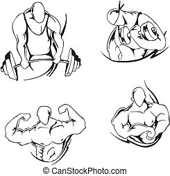 Weight lifting and bodybuilding. Set of black and white...