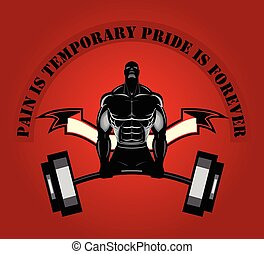 Weight lifting. Body builder. Silhouette of Bodybuilder...