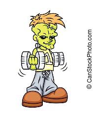 Weight Lifting - Cartoon Modern Boy