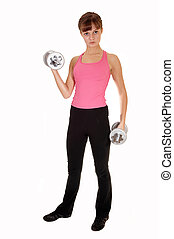 Weight lifting girl.