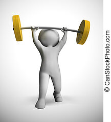Weight lifting in the gym getting exercise and a strong body - 3d illustration