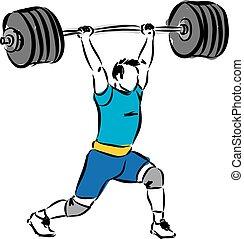 weight lifting man illustration 2