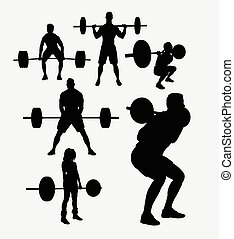 Weight lifting sport silhouettes