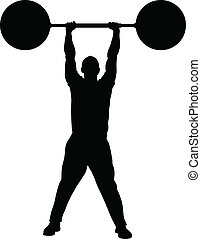 A silhouette of a man lifting heavy weights with ease.