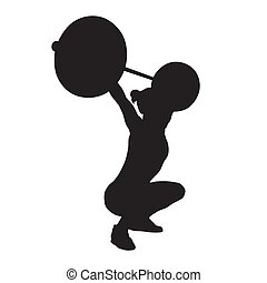 Weight lifting, woman lifts big barbell, isolated vector silhouette, side view