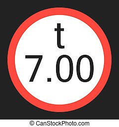 Weight limitation 7 tons sign flat icon - Weight limitation...