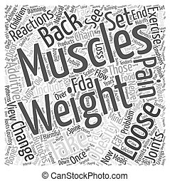 Weight Loss and Back Pain Word Cloud Concept