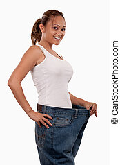Weight loss - Attractive slim Asian woman smiling...