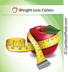 Weight loss background with apple and tape measure