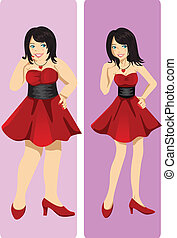A vector illustration of a weight loss concept showing a girl transformation from fat to skinny