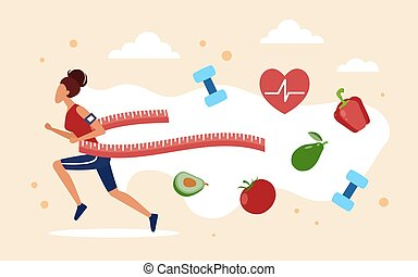 Weight loss concept with cartoon slim woman jogging