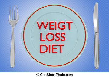 WEIGHT LOSS DIET concept - 3D illustration of WEIGHT LOSS ...