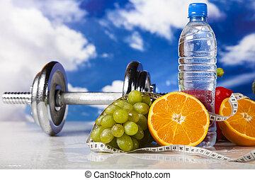 Weight loss, fitness - Dumbbells, fresh fruits, vegetables ...