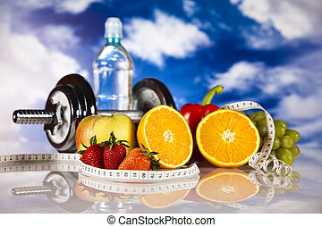 Weight loss, fitness - Dumbbells, measure tape, fruits and ...