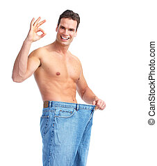 Weight loss. Getting slim man. Isolated on white background.