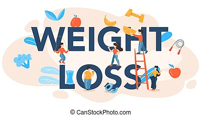 Weight loss header. Diet, plan, healthy, food, physical, activity.