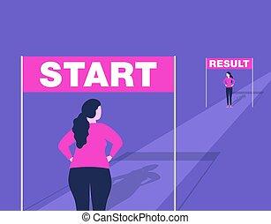 Weight loss illustration for diet program, fasting